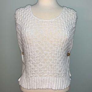 White cardigan w/button sides